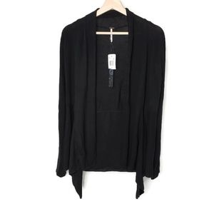 NWT POOF Apperal Lightweight Knit Cardigan Black